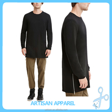 Plus long T-shirt for man OEM plain 100% cotton black long sleeves men's Tall tee with side zippers wholesale
