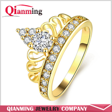 AAA+ Cubic Zircon Diamond 18K Gold Plated Luxury Cute Princess Rings For Women Girls Wedding Crown Jewelry Party Gift