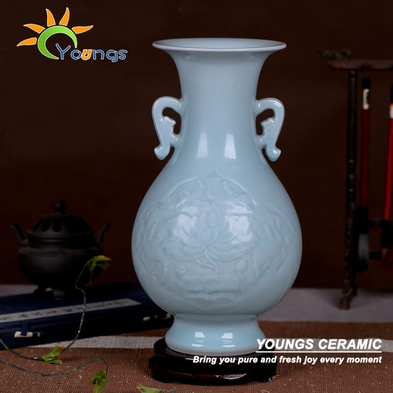 Retail Wholesale Chinese celadon vases hand carved craft for tabel lamps
