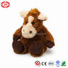 Sitting plush fluffy brown horse soft stuffed CE kids toy