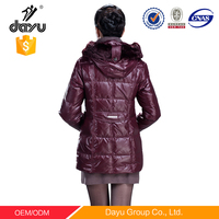 wine womens winter jacket with fur hood quilted down jackets stock lot in China garment supplier manufacture