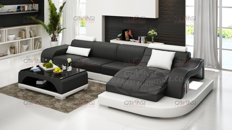 GANASI Black And White Leather Sofa, Soft Line Leather Sofas, Heated  Leather