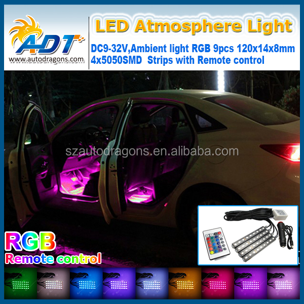 EJ 4pc. Color 7 Color LED Car Interior Lighting Kit,car interior decoration atmosphere light and Wireless Remote Control