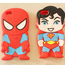 soft silicone cartoon 3d spiderman hero case for iphone 5 superman case