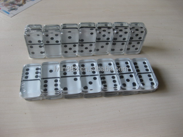Deluxe Strategy Wooden box Glass Domino Game Set