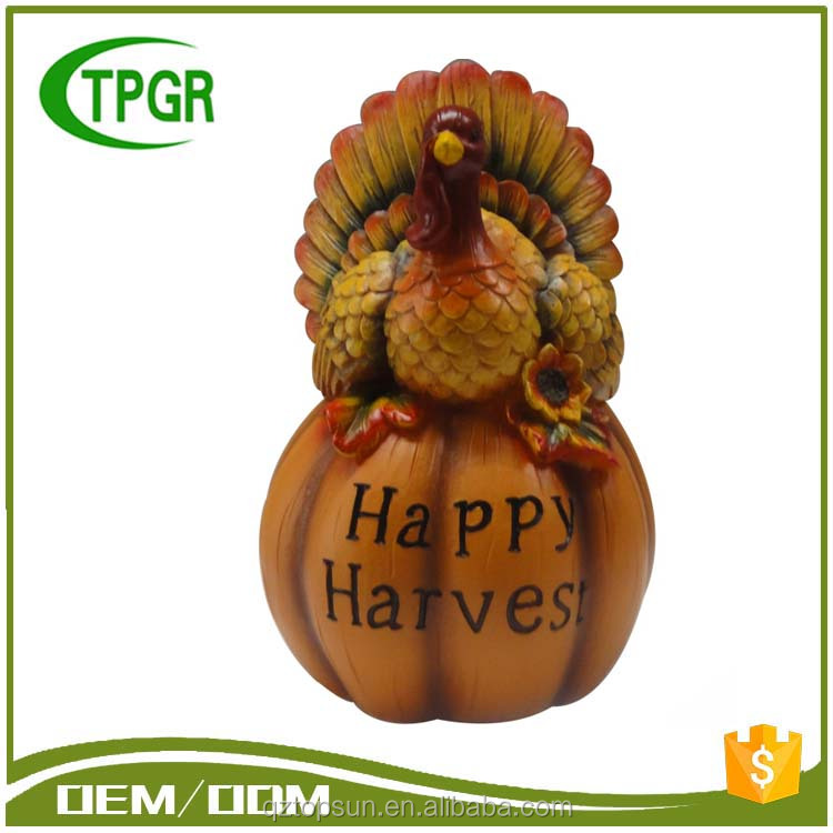Factory price resin crafts material turkey pumpkin decor solar light for harvest outdoor decoration