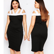 2016 new design fashion black and white plus size dresses for women