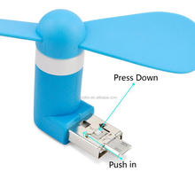 Factory portable cell phone fan 2 in1 USB mini fan for iphones and Android phone