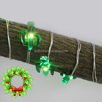 3 AA battery box PVC packing shining green cactus copper wire celebrating light string