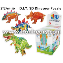 New Novelty Toy DIY 3D 4 Design Assorted Dinosaur Puzzle