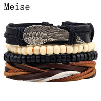 Yiwu Meise Hand-woven fashion Personality Cowhide Leather Beads Feather Bracelet Men Women/Leather Bracelet/Woven Wristband