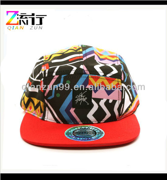 Fresh Aztec Summer 5 Panel Snapback Biker Cycle Cadet Cap Hat Adjustable Black