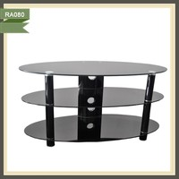 satellite receiver living room cheap Glass and Metal Table TV stand RA080