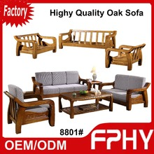 Manufacturer 8801# Oak Solid Wood Frame fabrics Cushion Sectional african living room furniture