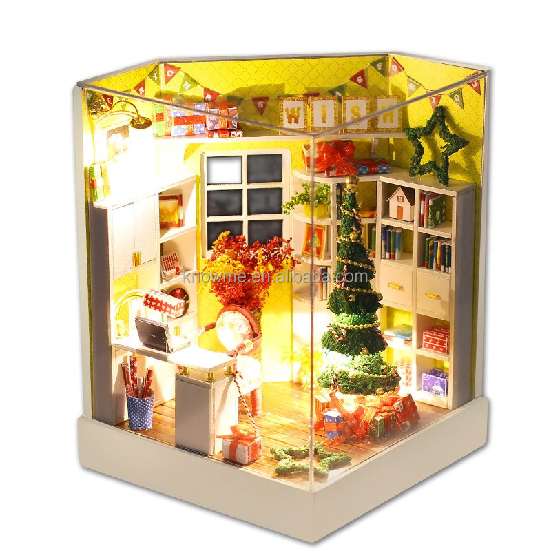 2017 miniature furniture wooden puzzle toy DIY doll house for kid Best birthday wishes Merry Christmas Day