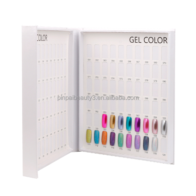 Pinpai brand hot sell professional white uv nail gel polish card chart book nail color display