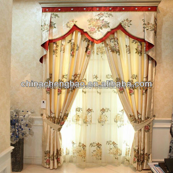Latest fancy valances embroidered patterns kitchen window curtains