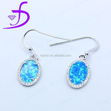 Wholesale delicate newest design diamond plain design jewelry silver opal earrings for gift