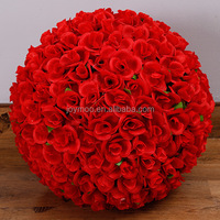 Wholesale Wedding Romantic Decorative Large Hanging Artificial Rose Flower Ball With Leaf