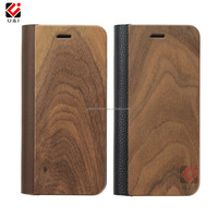 Mobile Phones Original Walnut Wood Flip Leather Case for iPhone 7, Wooden Case for iPhone 8