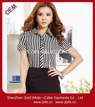 OEM women's summer slim fit stripe shirt