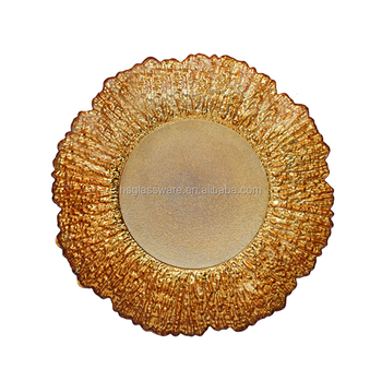 13inch Underplate Golden Reef Gold Event Wedding Flora Glass Charger Plate