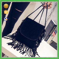 YTF-P-STB078 New Arriving 2016 Koream Style Messenger Bag Black Leather Tassels Shoulder Bag For Ladies
