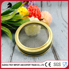 70mm stainless steel wire mesh golden metal lid for mason jar