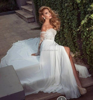 Sexy Off The Shoulder Wedding Dresses With Sleeve Lace Applique A Line Front Split Floor Length Chiffon Beach Gown FMG05
