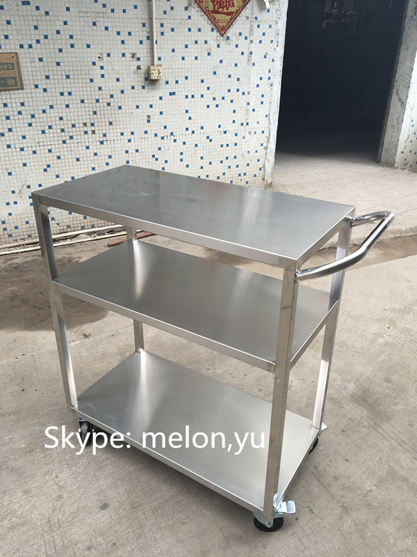 3-tier Stainless Steel Handcart/Stainless Steel Trolley