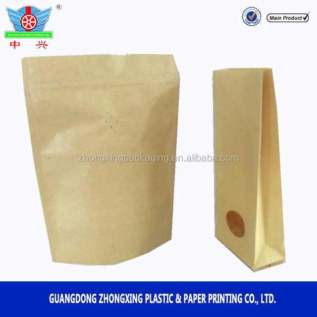 Kraft paper packaging bag with zipper top and air valve