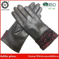 Helilai top quality black sheepskin gloves and mittens