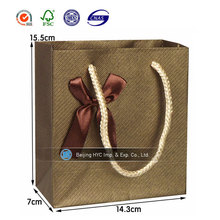 Hot sale small brown gift paper bag with gold stripes