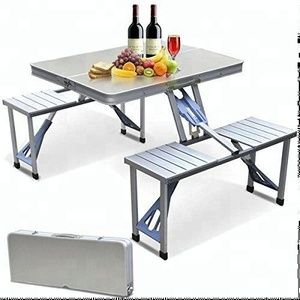 Furniture Portable Folding Camping Picnic Dining Portable Table Set with 4 Seats Bench