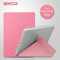 EXCO new arrival Tower-shaped gold pink blue black smart support flip cover for iPad mini 4