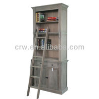 OA-4002-1 Reclaimed Elm Furniture Vintage Bookcase with Ladder