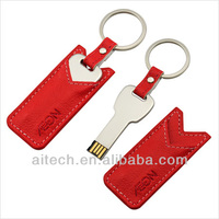 Gift USB with metal chain leather logo metal edge usb flash memory