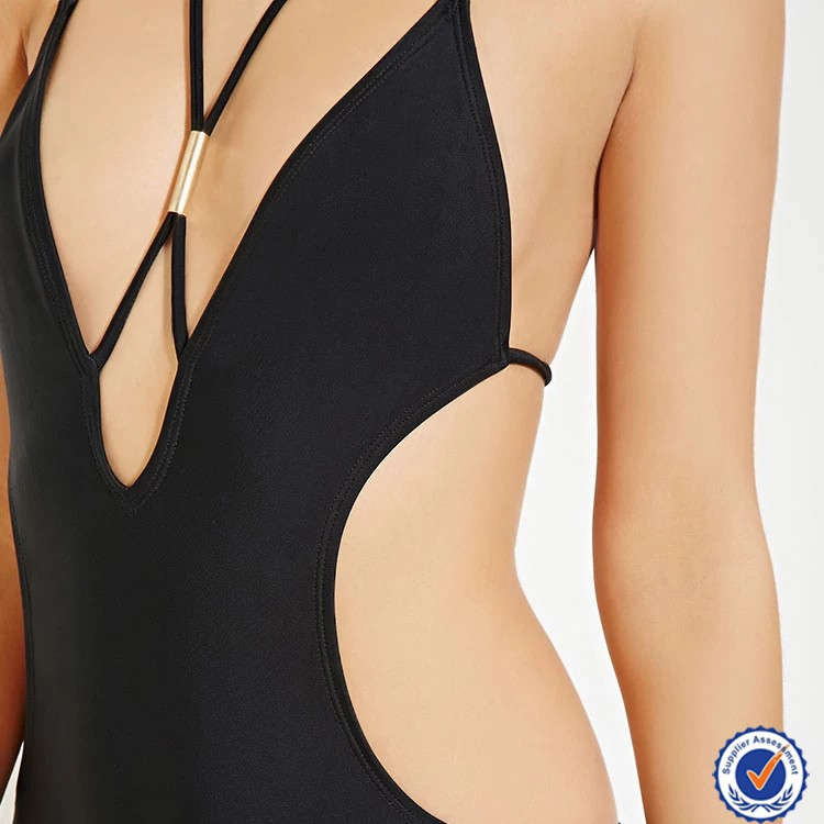 OEM women black halter cutout side young leafs girls bathing suit monokini image sex