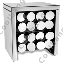 Coolbang CBM068 onyx silver mirrored nightstand chest with 2 drawers