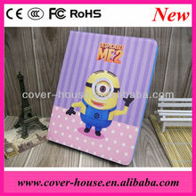 Despicable me2 minion cartoon case for iPad mini Tablet stand leather case for mini iPad