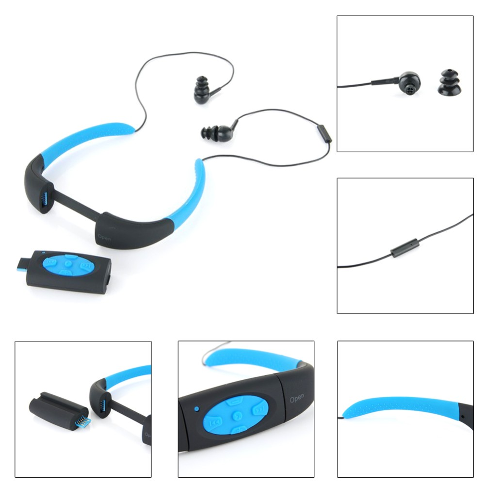 headset waterproof bluetooth earphones for swim with mp3. Black Bedroom Furniture Sets. Home Design Ideas