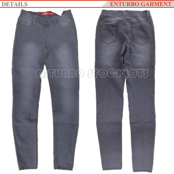 Stock women ladies pants denim jeans with elastane