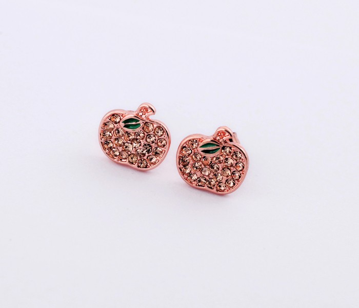 Flashing Ladies Fashion Friendship Cute Pink Apple Rose Gold Crystal Earrings