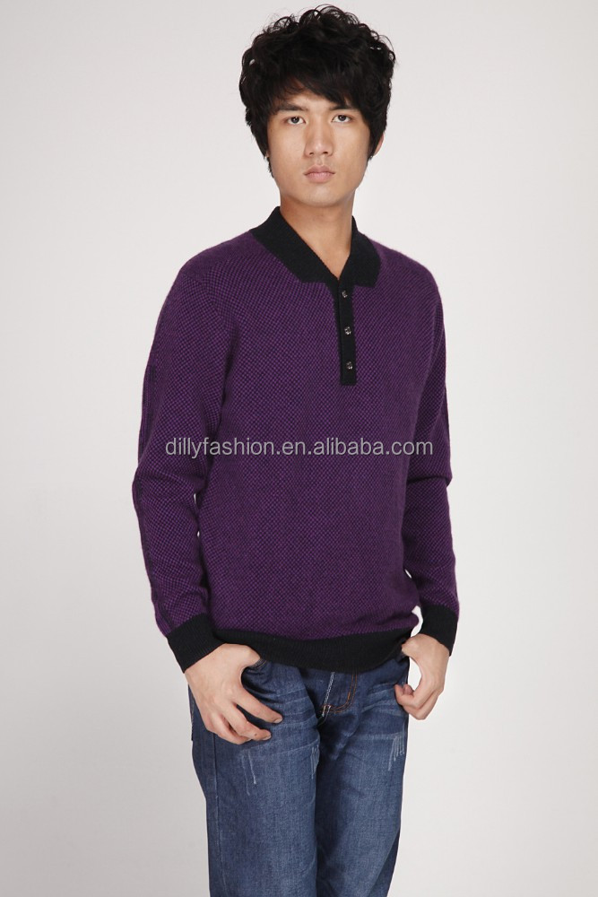 2016 men cashmere 3 button down collar v neck pattern knitted sweater