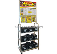 Car Spare Parts Retail Store Floor Standing Metal Wire Shelving Battery Car Accessories Display Rack