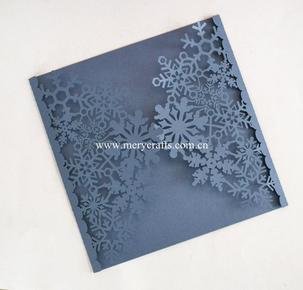 Snowflake invitations laser cut navy blue greeting card wedding card for mariage invitations