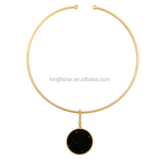 Black round flat gemstone pendant copper hoop necklace for women wholesale