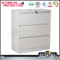 Office Archive Furniture 900mm width white legal horizontal filing cabinet with 3 drawer