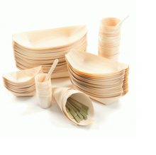 Disposable pine wooden sushi serving boat plate
