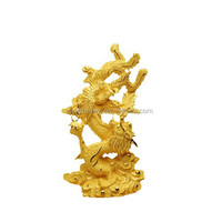 24 k gold art , Copper dragon and phoenix statues